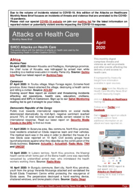 Attacks on Health Care April 2020 | Monthly News Briefs