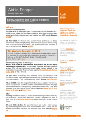 Aid in Danger April 2020 | Monthly News Brief