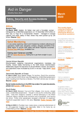Aid in Danger March 2020   Monthly News Brief