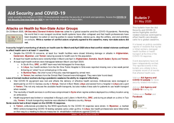 Bulletin 7 | Aid Security and COVID-19