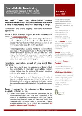 Social Media Monitoring DRC   Bulletin 6