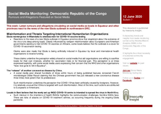 Social Media Monitoring DRC | Bulletin 7