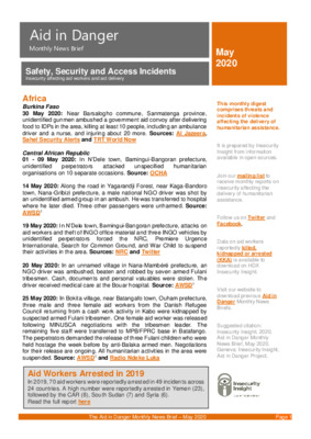 Aid in Danger May 2020 | Monthly News Brief