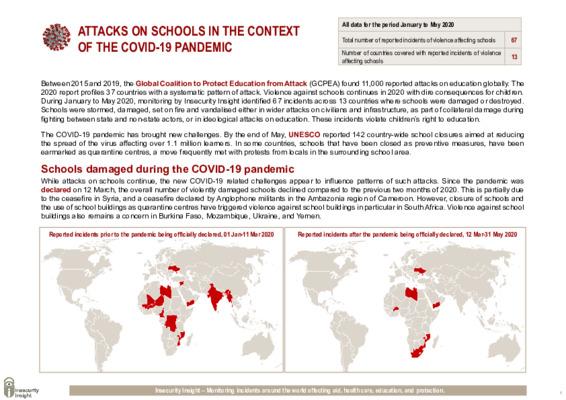 Attacks on schools continue despite COVID-19 pandemic
