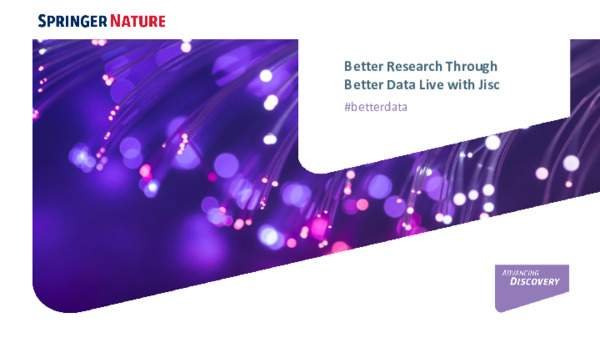 Presentation: Better Research Through Better Data Live with Jisc