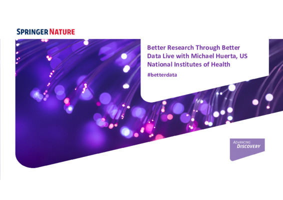 Presentation: Better Research Through Better Data Live with NIH, United States