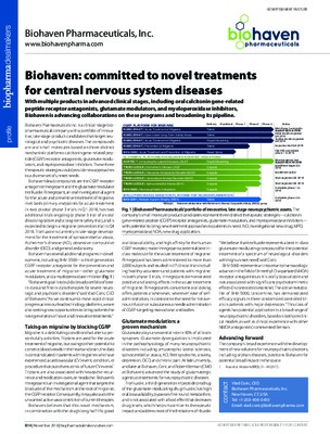Biohaven: committed to novel treatments for central nervous system diseases
