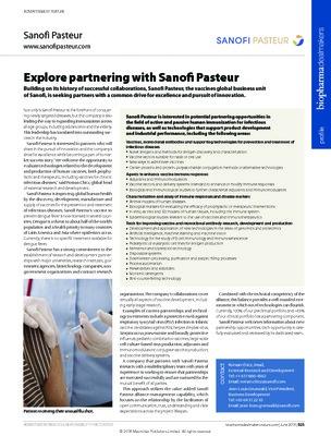 Explore partnering with Sanofi Pasteur