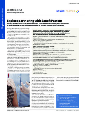 Explore partnering with Sanofi Pasteur