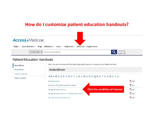How do I customize patient handouts?