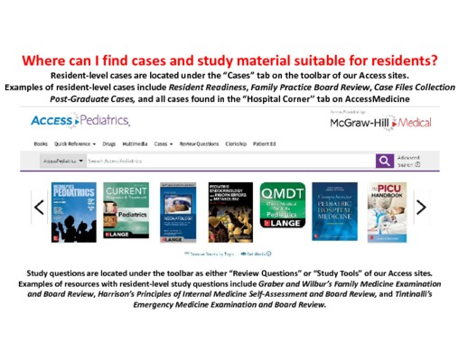 Where can I find cases and study material suitable for residents?