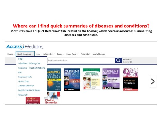Where can I find quick summaries of diseases and conditions?
