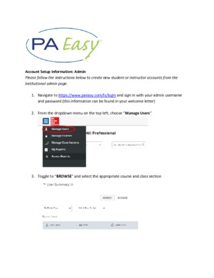 Creating student and instructor accounts in PAEasy