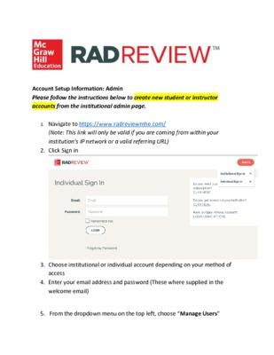 How to create instructor and student accounts (RadReview)