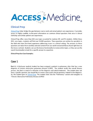 Clinical Prep Use Cases