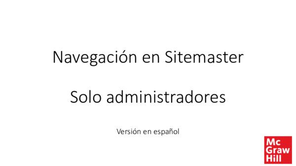 Navegaciónen Sitemaster - Solo administradores