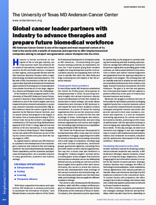 Global cancer leader partners with industry to advance therapies and prepare future biomedical workforce