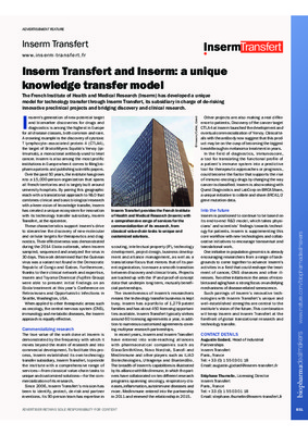 Inserm Transfert and Inserm: a unique knowledge transfer model