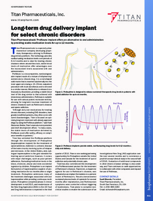 Long-term drug delivery implant for select chronic disorders
