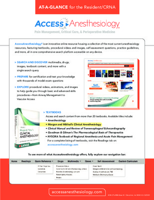 AccessAnesthesiology - Resident/CRNA At-a-Glance Guide