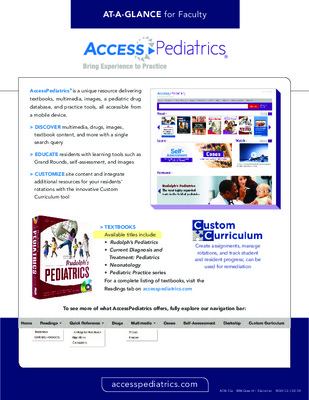 AccessPediatrics - Faculty At-a-Glance Guide