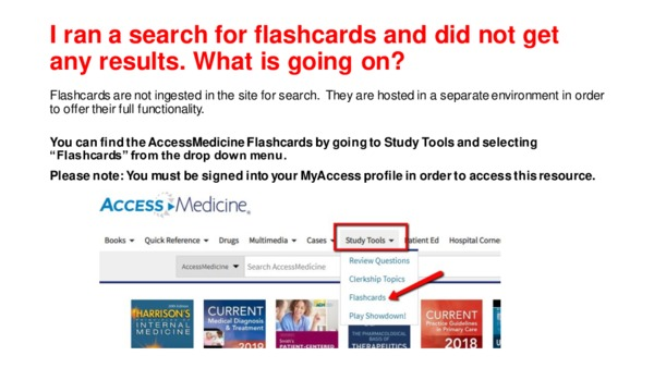 Why aren't the flashcards appearing in my search results?