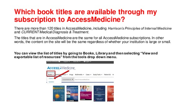 Which book titles are available through my subscription to AccessMedicine?