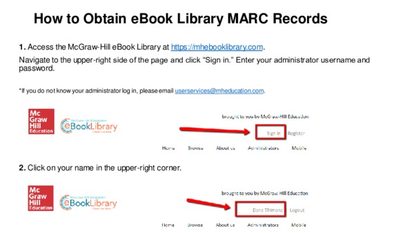 How to Obtain eBook Library MARC Records