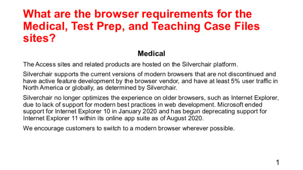 What are the browser requirements for the Medical, Test Prep, and Teaching Case Files sites?